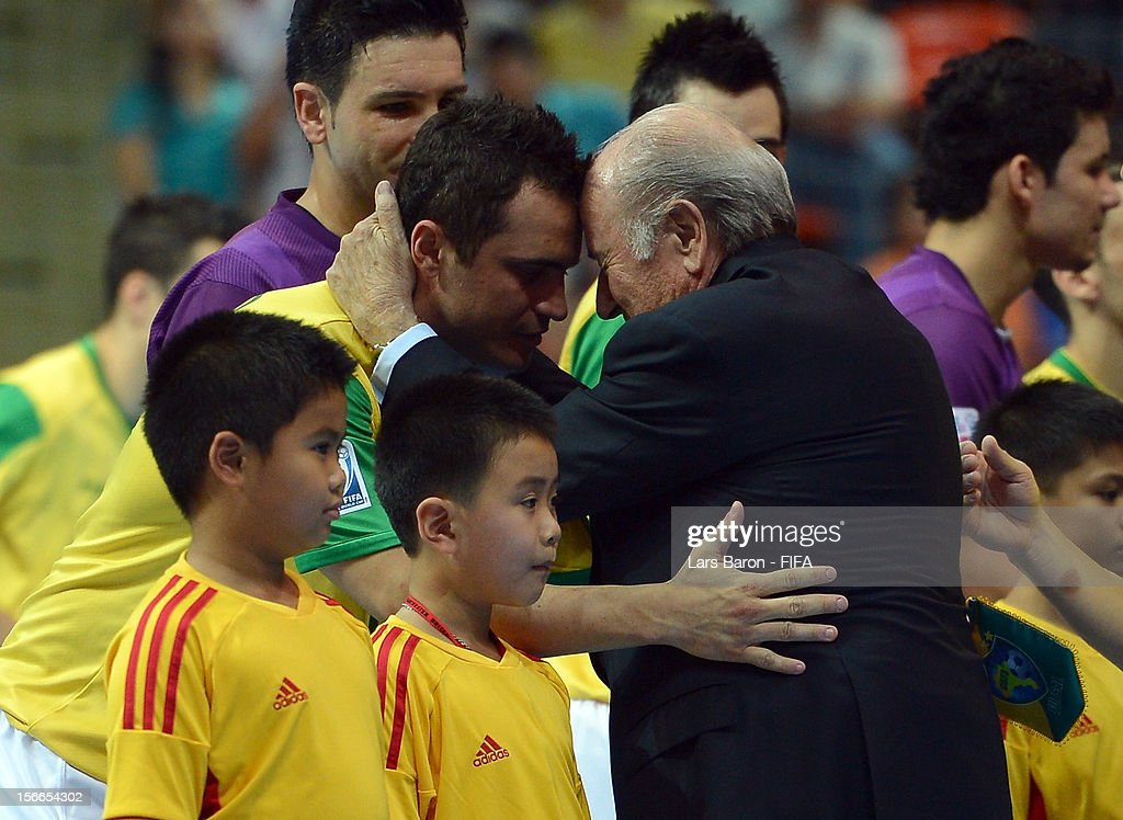President Joseph S Blatter is seen with Falcao of Brazil prior to the FIFA Futsal World Cup Final at Indoor Stadium Huamark on November 18 2012 in...