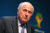 President Joseph S Blatter looks on after a Press Conference after the 2014 FIFA World Cup Organising Committee meeting at the Grand Hyatt Sao Paulo...