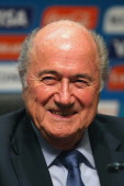 President Joseph S Blatter looks on during a Press Conference after the 2014 FIFA World Cup Organising Committee meeting at the Grand Hyatt Sao Paulo...