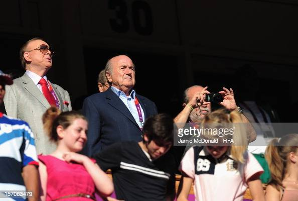 President Joseph S Blatter looks on during Group E Woman's Football match between Cameroon and Brazil at Millennium Stadium on July 25 2012 in...