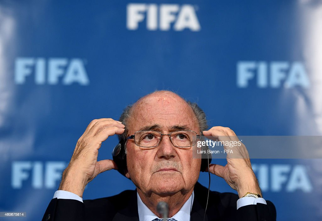 President Joseph S. Blatter looks on during the FIFA Executive Committee press conference at Sofitel Marrakech on December 19, 2014 in Marrakech, Morocco.