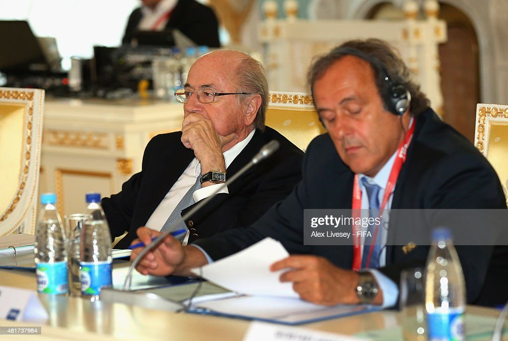 President Joseph S. Blatter looks on during the Russia 2018 FIFA World Cup Organising Committee Meeting alongside Vice President <a gi-track='captionPersonalityLinkClicked' href=/galleries/search?phrase=Michel+Platini&family=editorial&specificpeople=206862 ng-click='$event.stopPropagation()'>Michel Platini</a> at Konstantin Palace on July 24, 2015 in Saint Petersburg, Russia.