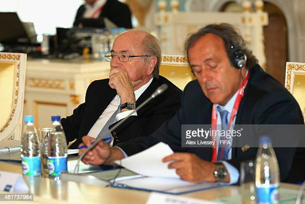 President Joseph S Blatter looks on during the Russia 2018 FIFA World Cup Organising Committee Meeting alongside Vice President Michel Platini at...
