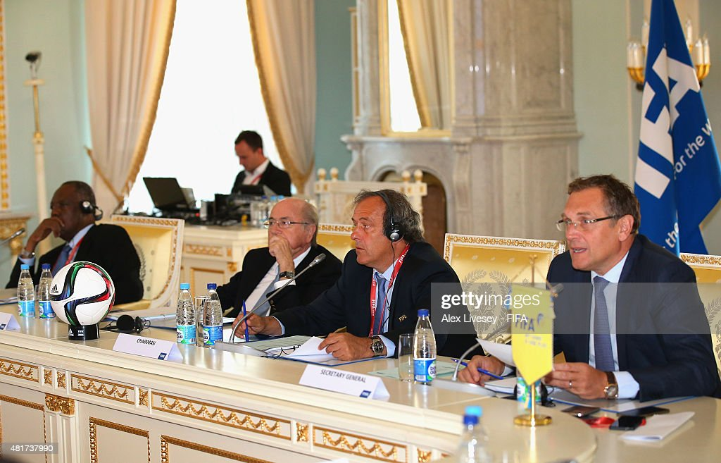 President Joseph S. Blatter looks on during the Russia 2018 FIFA World Cup Organising Committee Meeting alongside Senior Vice President <a gi-track='captionPersonalityLinkClicked' href=/galleries/search?phrase=Issa+Hayatou&family=editorial&specificpeople=541876 ng-click='$event.stopPropagation()'>Issa Hayatou</a>, Vice President <a gi-track='captionPersonalityLinkClicked' href=/galleries/search?phrase=Michel+Platini&family=editorial&specificpeople=206862 ng-click='$event.stopPropagation()'>Michel Platini</a> and Secretary General Jerome Valcke at Konstantin Palace on July 24, 2015 in Saint Petersburg, Russia.