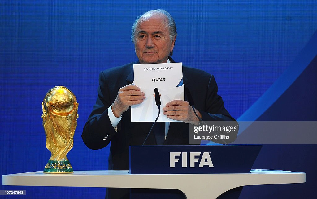 President Joseph S Blatter names Qatar as the winning hosts of 2022 during the FIFA World Cup 2018 & 2022 Host Countries Announcement at the Messe Conference Centre on December 2, 2010 in Zurich, Switzerland.