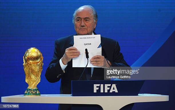 President Joseph S Blatter names Qatar as the winning hosts of 2022 during the FIFA World Cup 2018 2022 Host Countries Announcement at the Messe...