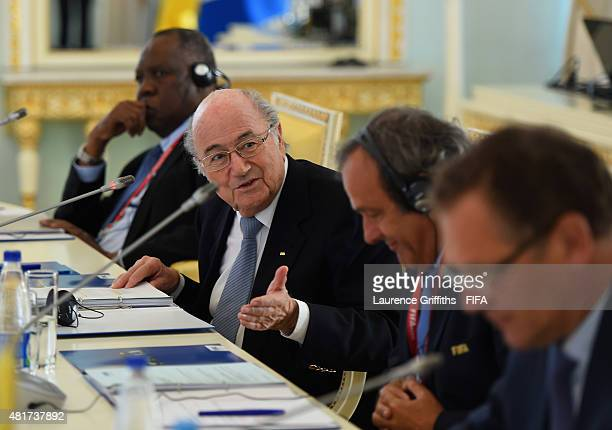 President Joseph S Blatter opens the Russia 2018 FIFA World Cup Organising Commitee Meeting alongside FIFA Senior Vice President Issa Hayatou FIFA...