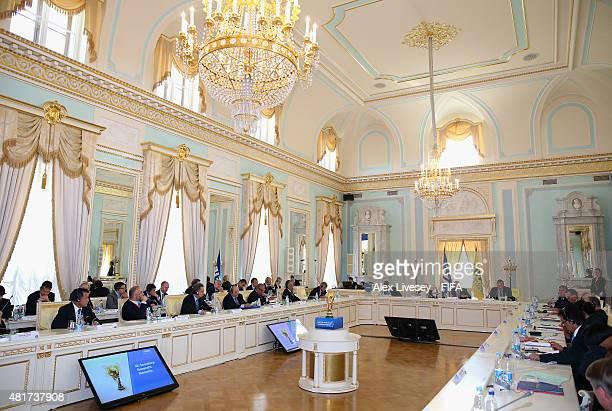 President Joseph S Blatter opens the Russia 2018 FIFA World Cup Organising Committee Meeting alongside Senior Vice President Issa Hayatou Vice...