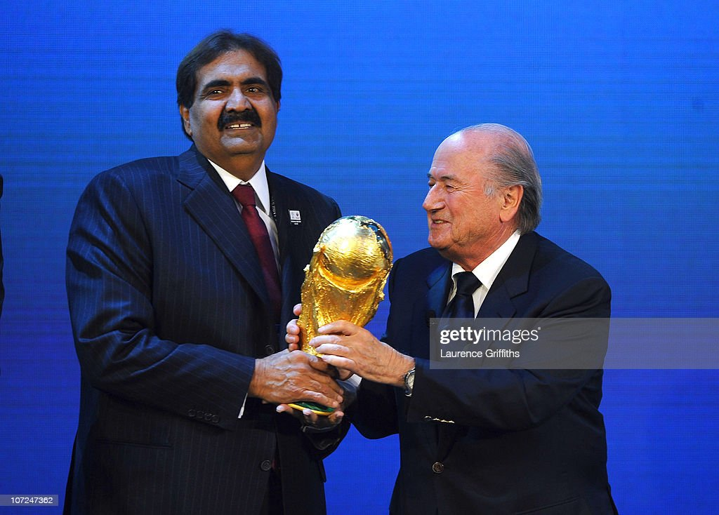 President Joseph S Blatter presents Qatar for the hosts of 2022 during the FIFA World Cup 2018 & 2022 Host Countries Announcement at the Messe Conference Centre on December 2, 2010 in Zurich, Switzerland.