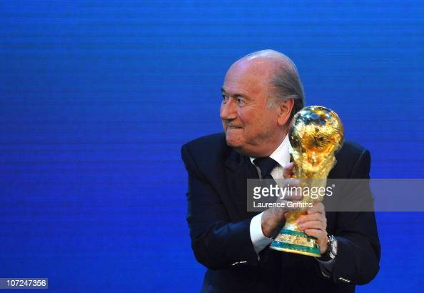 President Joseph S Blatter presents Qatar for the hosts of 2022 World Cup during the FIFA World Cup 2018 2022 Host Countries Announcement at the...