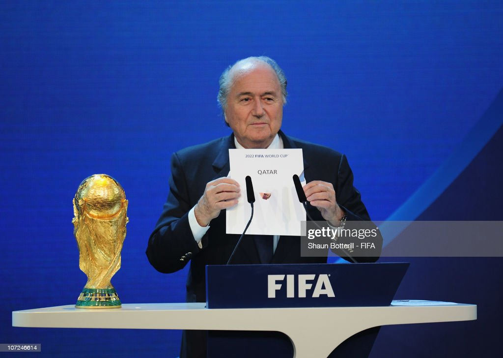 President Joseph S Blatter reveals Qatar as holders for the 2022 World Cup at the Messe on December 2, 2010 in Zurich, Switzerland.