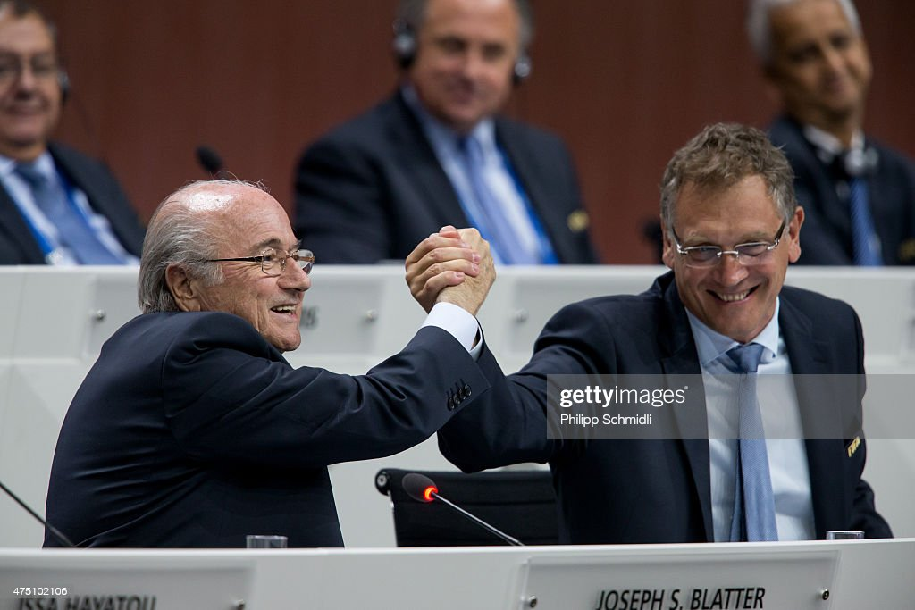 President Joseph S. Blatter (L) shakes hands with FIFA Secretary General Jerome Valcke during the 65th FIFA Congress at Hallenstadion on May 29, 2015 in Zurich, Switzerland.