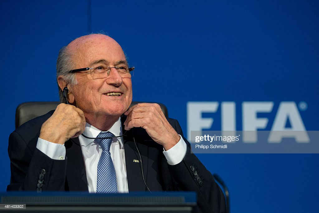 President Joseph S. Blatter smiles during a press conference at the Extraordinary FIFA Executive Committee Meeting at the FIFA headquarters on July 20, 2015 in Zurich, Switzerland.