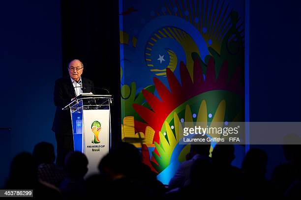 President Joseph S Blatter speaks at a team seminar during a media day ahead of the 2014 FIFA World Cup Draw at Costa do Sauipe Resort on December 5...