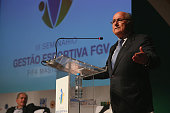 President Joseph S Blatter speaks at the opening for the FIFA Master Alumni Sports Management Seminar at House of Europe on July 2 2014 in Rio de...