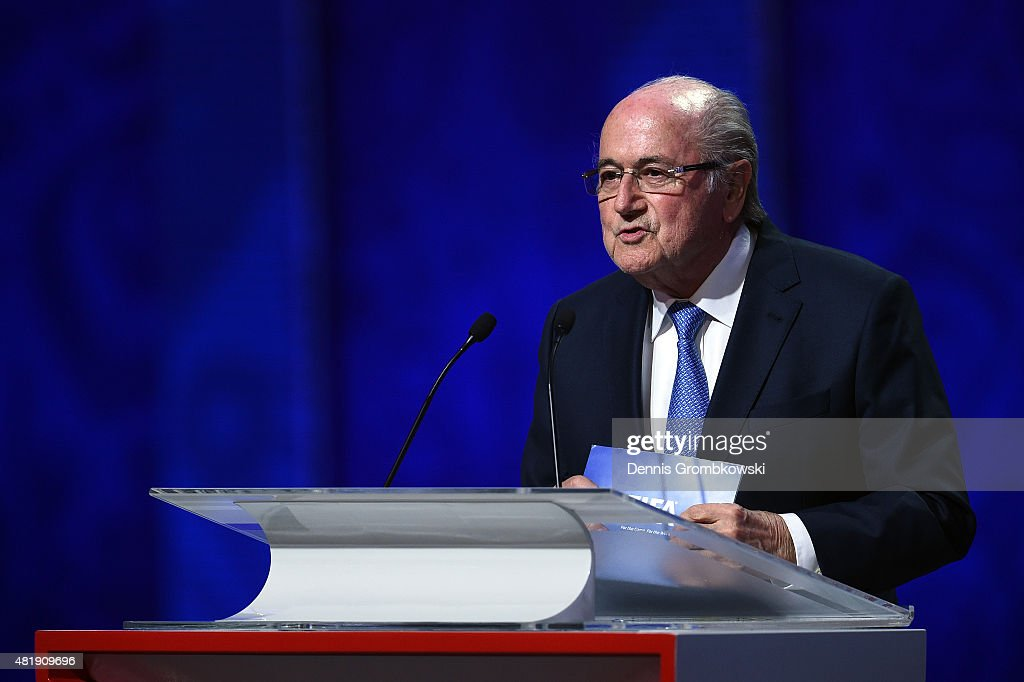 President Joseph S. Blatter speaks during the Preliminary Draw of the 2018 FIFA World Cup in Russia at The Konstantin Palace on July 25, 2015 in Saint Petersburg, Russia.