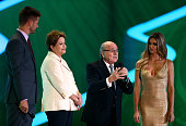 President Joseph S Blatter speaks to the audience next to Brazil President Dilma Rousseff and hosts Fernanda Lima and Rodrigo Hilbert before the...