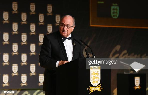 President Joseph S Blatter talks on stage during the FA150 Gala Dinner commemorating the Football Association's 150th year at the Grand Connaught...