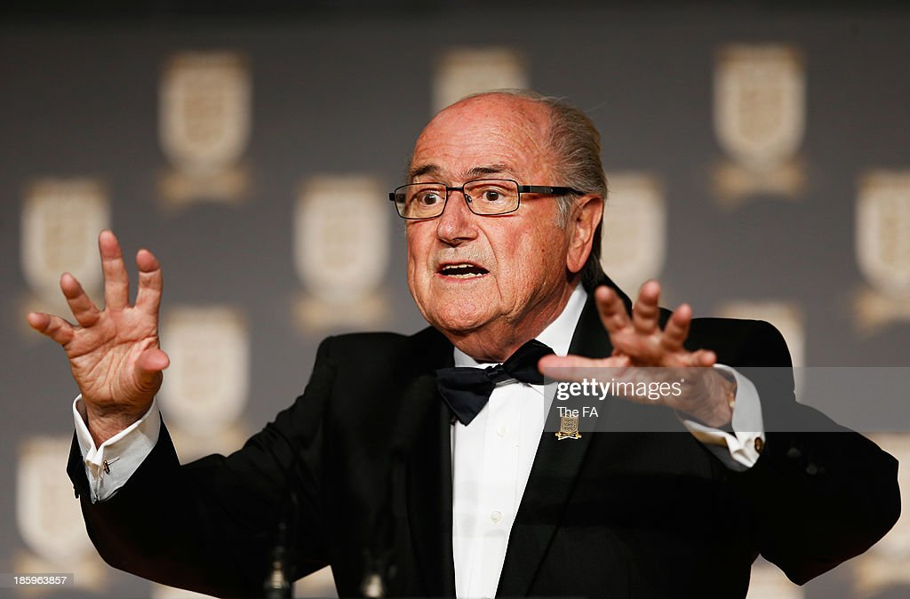 President Joseph S. Blatter talks on stage during the FA150 Gala Dinner commemorating the Football Association's 150th year at the Grand Connaught Rooms on October 26, 2013 in London, England.