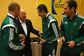 President Joseph S Blatter talks to Carlos Velasco Carbello of Spain and his assistens Roberto Alonso Fernandez and Juan Carlos Yuste Jimenez at the...