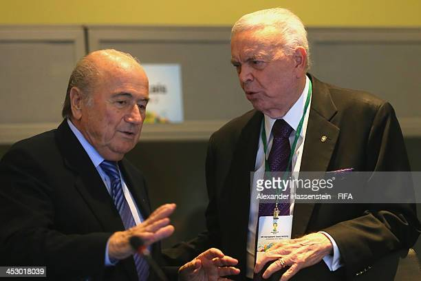 President Joseph S Blatter talks to Jose Maria Marin President of the Brazilian Football Confederation prior to the LOC Managment Board Meeting at...