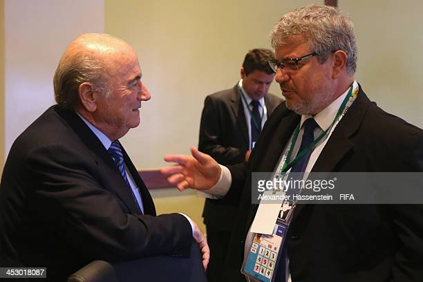 President Joseph S Blatter talks to the CEO of the 2014 FIFA World Cup Brazil Organizing Committee Ricardo Trade prior to the LOC Managment Board...