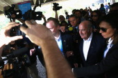 President Joseph S Blatter visits the International Broadcast Center for the 2014 FIFA World Cup in Barra on July 2 2014 in Rio de Janeiro Brazil