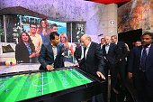 President Joseph S Blatter visits the Mexican TV Channel 'Televisa' at the International Broadcast Centre for the 2014 FIFA World Cup in Barra on...