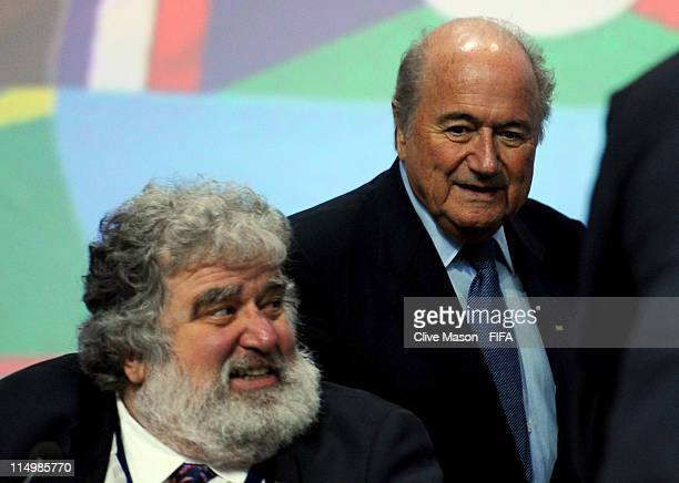 President Joseph S Blatter walks past Chuck Blazer during the 61st FIFA Congress at Hallenstadion on June 1 2011 in Zurich Switzerland