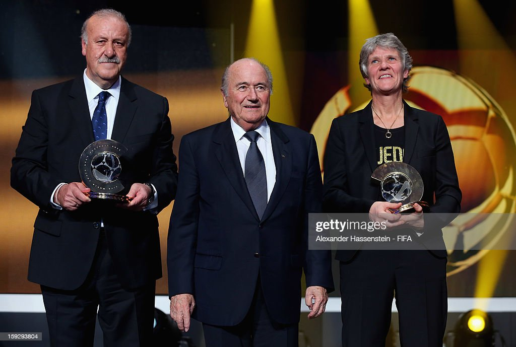 President Joseph S. Blatter with FIFA World Coach of the Year award winners Vicente de Bosque and <a gi-track='captionPersonalityLinkClicked' href=/galleries/search?phrase=Pia+Sundhage&family=editorial&specificpeople=3280218 ng-click='$event.stopPropagation()'>Pia Sundhage</a> during FIFA Ballon d'Or Gala 2012 at the Kongresshaus on January 7, 2013 in Zurich, Switzerland.