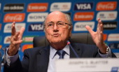 President Joseph SBlatter addresses the media during the press conference following the meeting of the Organizing Committee for the FIFA 2014 World...