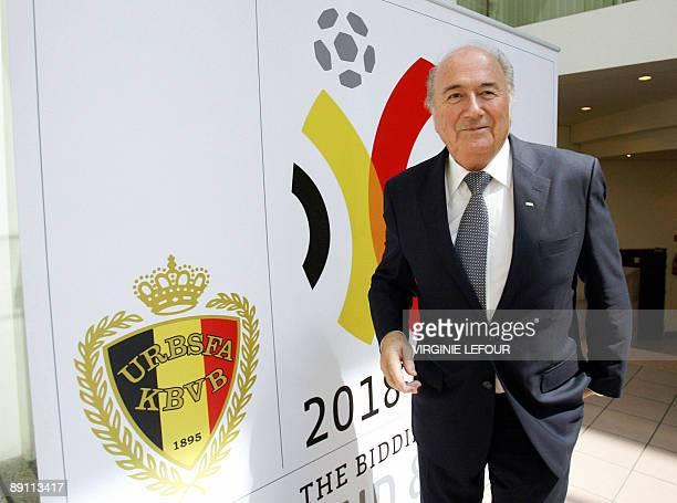 President Joseph Sepp Blatter arrives for a meeting with Belgian Prime Minister Herman Van Rompuy on July 20 atthe KBVBURBSFA Belgian soccer union in...