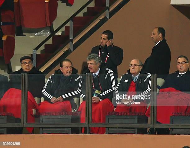 President Joseph Sepp Blatter watches the FIFA Club World Cup 2014 Match 6 Semi Final San Lorenzo v Auckland City after Michael Garcia resigned