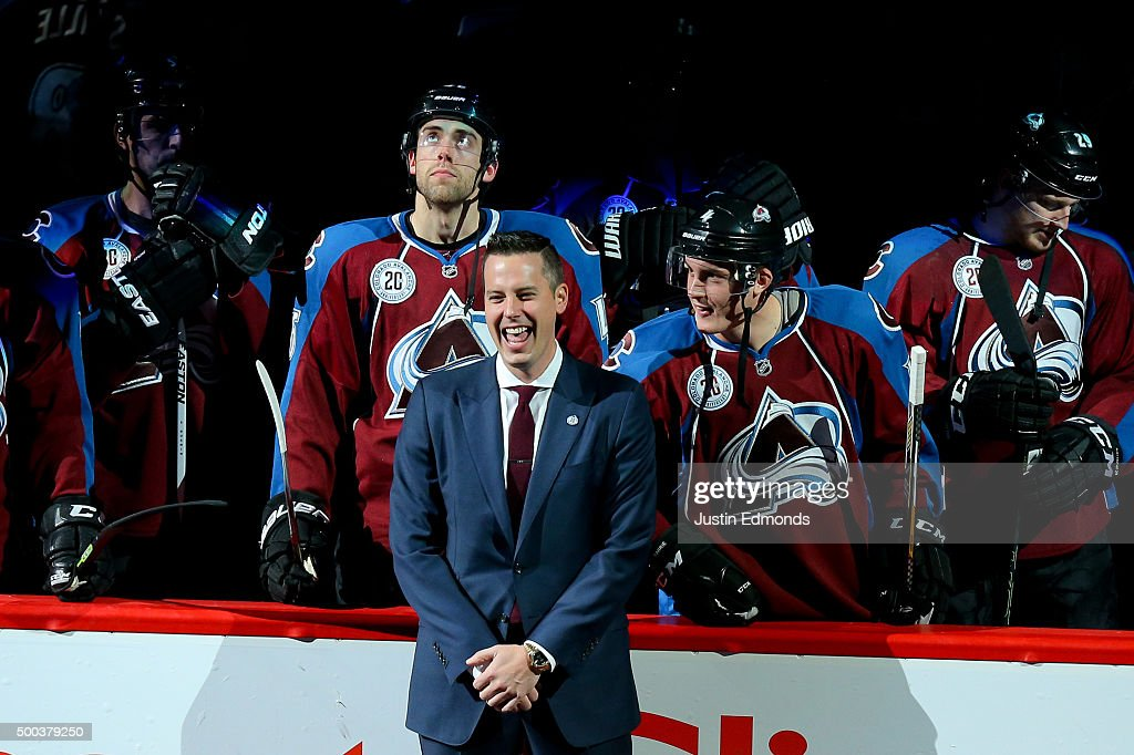 President <a gi-track='captionPersonalityLinkClicked' href=/galleries/search?phrase=Josh+Kroenke&family=editorial&specificpeople=3079825 ng-click='$event.stopPropagation()'>Josh Kroenke</a> of the Colorado Avalanche laughs on the ice during a ceremony to honor the 20th Anniversary Team before a game against the Minnesota Wild at Pepsi Center on December 7, 2015 in Denver, Colorado.