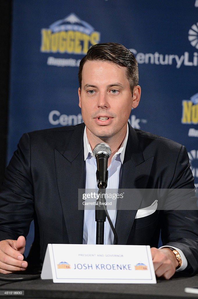 President <a gi-track='captionPersonalityLinkClicked' href=/galleries/search?phrase=Josh+Kroenke&family=editorial&specificpeople=3079825 ng-click='$event.stopPropagation()'>Josh Kroenke</a> of the Denver Nuggets talks to the media during a press conference on June 30, 2014 at the Pepsi Center in Denver, Colorado.
