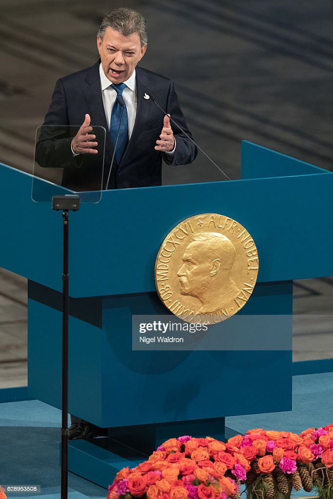 President Juan Manuel Santos of Colombia delivers his acceptance speech during the Nobel Peace Prize ceremony at Oslo Town Hall on December 10, 2016 in Oslo, Norway.