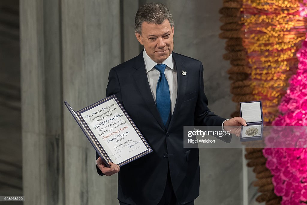 President Juan Manuel Santos of Colombia receives his Nobel Peace Prize Award during the Nobel Peace Prize ceremony at Oslo Town Hall on December 10, 2016 in Oslo, Norway.