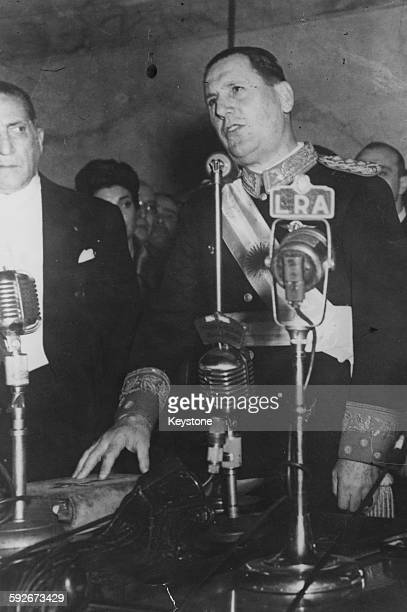 President Juan Peron of Argentina taking his Oath of Office for his second term in Buenos Aires June 9th 1952