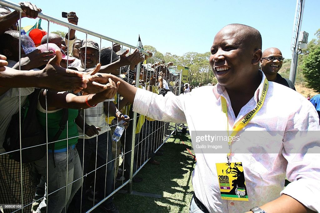ANCYL president <a gi-track='captionPersonalityLinkClicked' href=/galleries/search?phrase=Julius+Malema&family=editorial&specificpeople=5866727 ng-click='$event.stopPropagation()'>Julius Malema</a> greets the crowd of people celebrating the 20th anniversary of Nelson Mandela�s release from prison at Groot Drakenstein, formerly known as Victor Verster, outside Paarl on February 11, 2010 in Cape Town, South Africa. Thousands of South Africans gathered to mark the 20th anniversary of Nelson Mandela's walk to freedom after 27 years in prison.