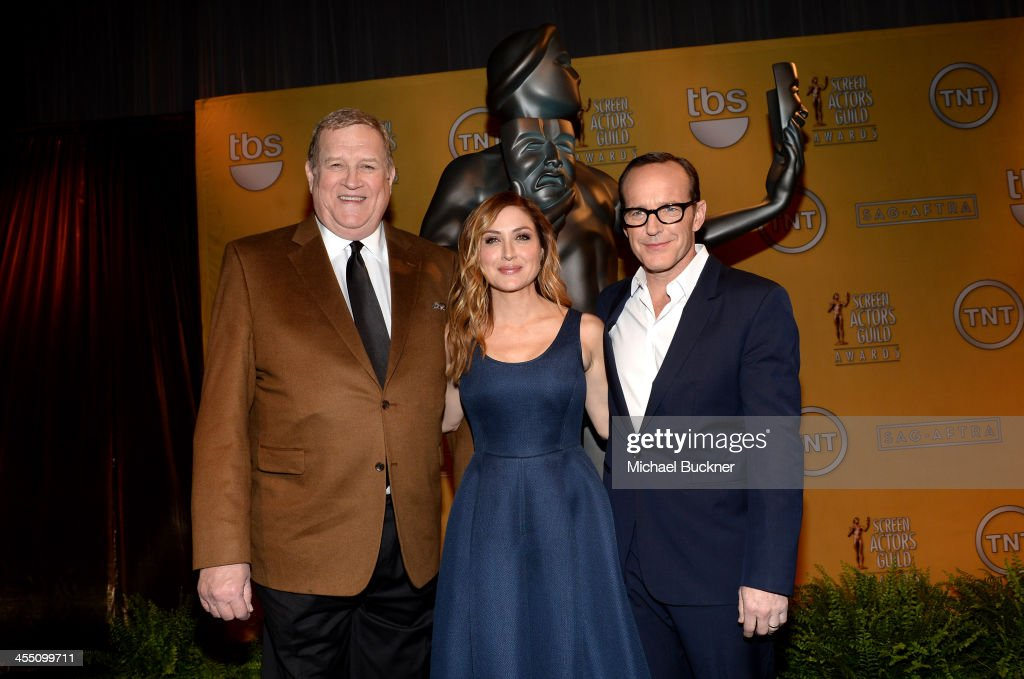 President <a gi-track='captionPersonalityLinkClicked' href=/galleries/search?phrase=Ken+Howard&family=editorial&specificpeople=228553 ng-click='$event.stopPropagation()'>Ken Howard</a>, actors <a gi-track='captionPersonalityLinkClicked' href=/galleries/search?phrase=Clark+Gregg&family=editorial&specificpeople=587275 ng-click='$event.stopPropagation()'>Clark Gregg</a> and <a gi-track='captionPersonalityLinkClicked' href=/galleries/search?phrase=Sasha+Alexander&family=editorial&specificpeople=215373 ng-click='$event.stopPropagation()'>Sasha Alexander</a> attend the 20th Annual Screen Actors Guild Awards Nominations Announcement at Pacific Design Center on December 11, 2013 in West Hollywood, California. 24092_002_2898.JPG