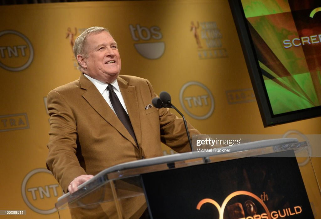 President <a gi-track='captionPersonalityLinkClicked' href=/galleries/search?phrase=Ken+Howard&family=editorial&specificpeople=228553 ng-click='$event.stopPropagation()'>Ken Howard</a> speaks at the 20th Annual Screen Actors Guild Awards Nominations Announcement at Pacific Design Center on December 11, 2013 in West Hollywood, California. 24092_002_0253.JPG
