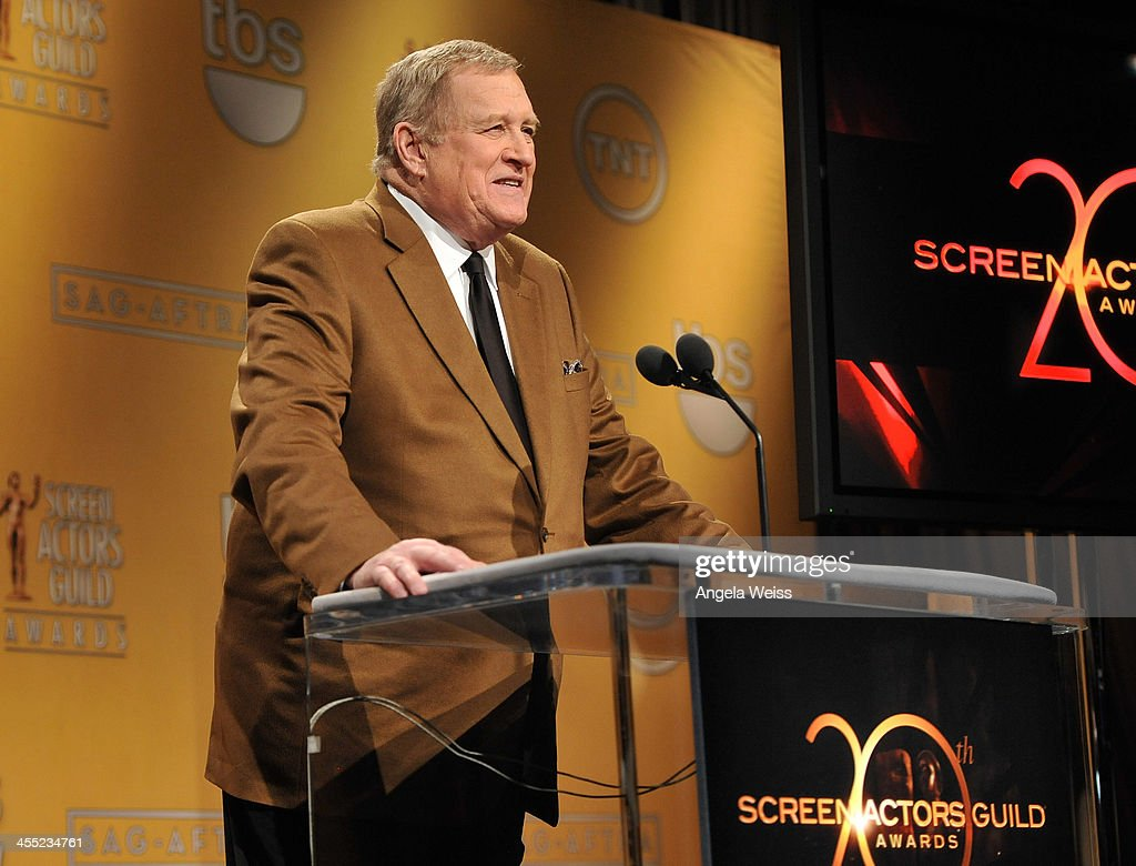 President <a gi-track='captionPersonalityLinkClicked' href=/galleries/search?phrase=Ken+Howard&family=editorial&specificpeople=228553 ng-click='$event.stopPropagation()'>Ken Howard</a> speaks at the 20th Annual Screen Actors Guild Awards Nominations Announcement at Pacific Design Center on December 11, 2013 in West Hollywood, California.