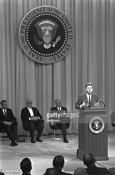 President Kennedy addresses the opening session of a twoday White House conference on wages prices automation and collective bargaining in the State...