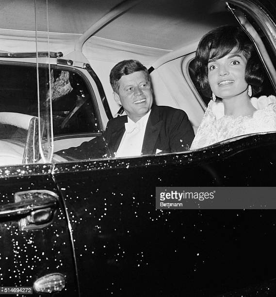 President Kennedy and First Lady Jackie Kennedy leave the Elysee Palace where they have dined with French President Charles De Gaulle They return to...