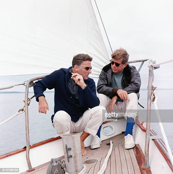 President Kennedy and his brotherinlaw Peter Lawford aboard the United States Coast Guard yacht 'Manitou'