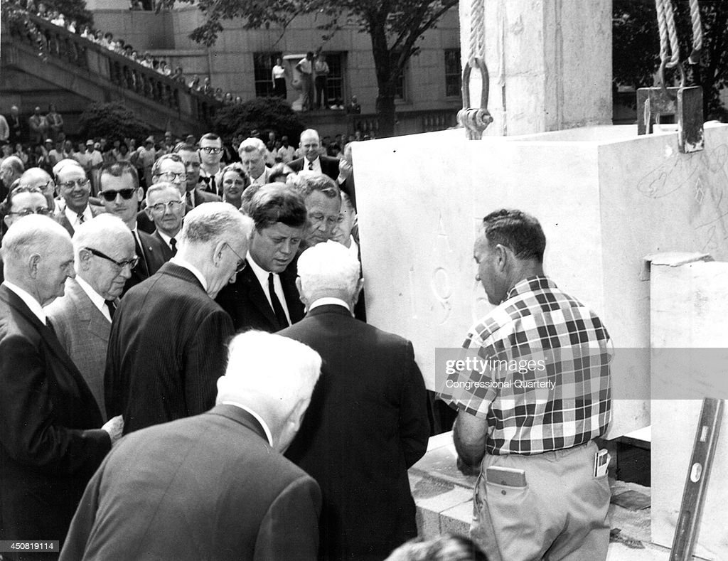 President Kennedy and House Speaker John William McCormack take part in the cornerstone ceremony for the Rayburn House Office Building on May 24th, 1962. Full occupancy of the building began in 1965.