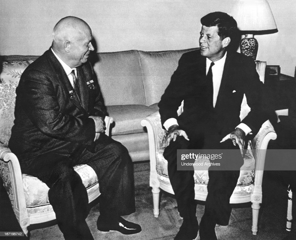 President Kennedy and Soviet Premier <a gi-track='captionPersonalityLinkClicked' href=/galleries/search?phrase=Nikita+Khrushchev&family=editorial&specificpeople=92216 ng-click='$event.stopPropagation()'>Nikita Khrushchev</a> meet at the American ambassador's residence in Vienna, Vienna, Austria, June 3, 1961.