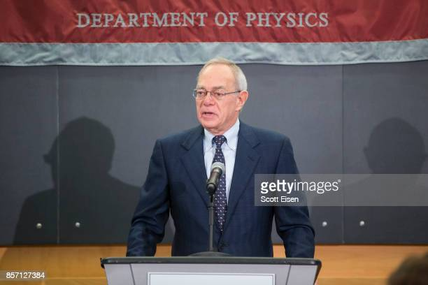 President L Rafael Reif speaks at a press conference about Rainer Weiss professor emeritus of physics at MIT who shares a Nobel Prize In Physics For...