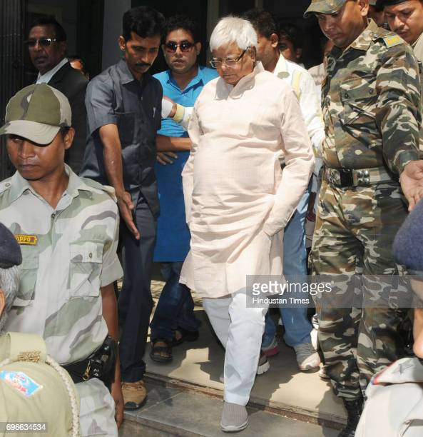 President Lalu Prasad coming out of a special CBI Court after appearing in connection with a multicrore fodder scam at Civil Court premises on June...