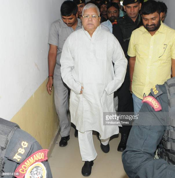 President Lalu Prasad proceeding to appear before a special CBI Court in connection with a Fodder Scam case at court premises on June 22 2017 in...